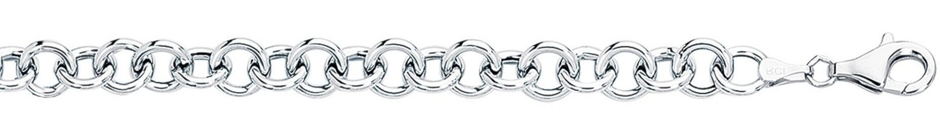 "7.25"" 14K White Gold Extra Wide Polished Diamond Cut Double Link Charm Bracelet w/ Pear Shape Clasp"