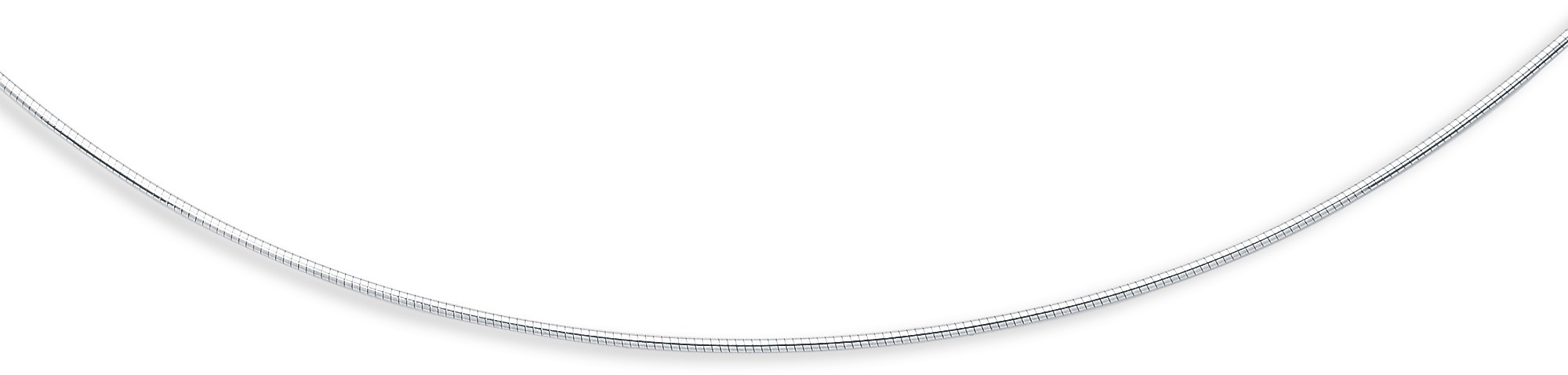 "17"" 14K White Gold 1.5mm (0.06"") Polish Diamond Cut Round Omega Necklace w/ Screw Off Lock & Pear Shape Clasp"