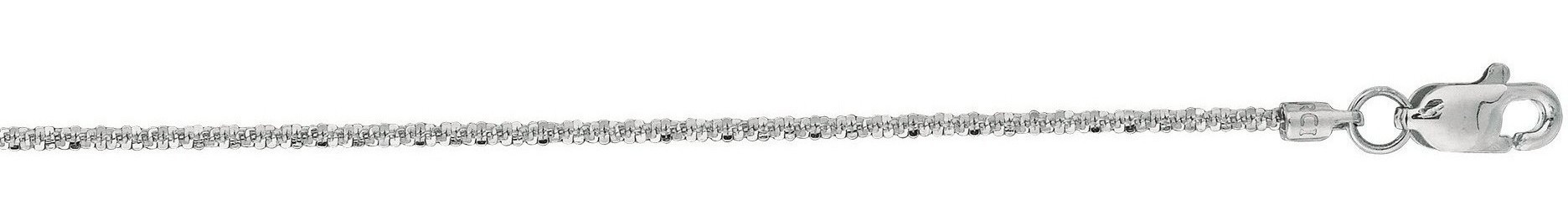 "18"" 14K White Gold 1.1mm (0.04"") Polished Diamond Cut Sparkle Chain w/ Lobster Clasp"