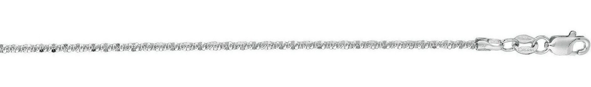 "10"" 14K White Gold 1.5mm (0.06"") Polished Diamond Cut Sparkle Chain Anklet w/ Lobster Clasp"