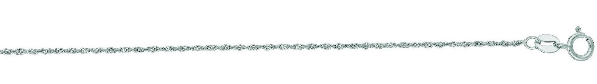 "24"" 14K White Gold 1.0mm (0.04"") Polish Diamond Cut Singapore Chain w/ Spring Ring Clasp"