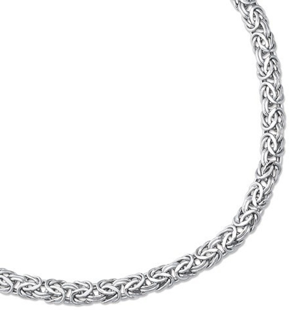 "8"" 14K White Gold 7.2mm (2/7"") Lite Byzantine Fancy Bracelet w/ Fancy Pear Shape Clasp"