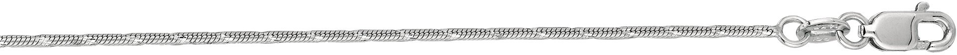 "24"" 14K White Gold 1.0mm (0.04"") Polished Diamond Cut Designer Snake Chain w/ Lobster Clasp - DISCONTINUED"