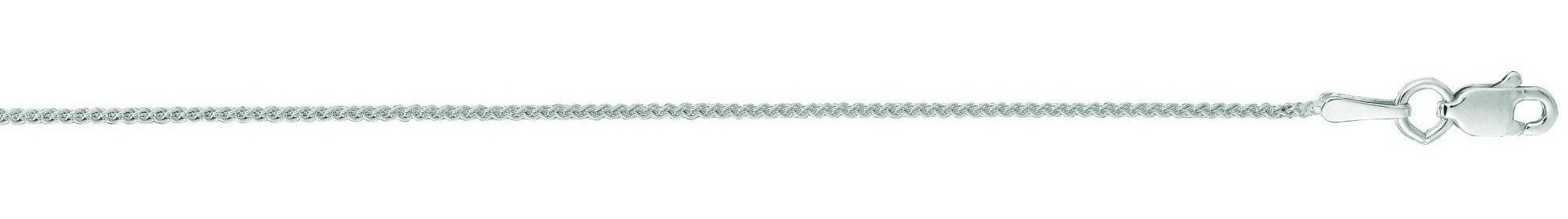 "16"" 14K White Gold 1.0mm (0.04"") Polished Diamond Cut Round Wheat Chain w/ Lobster Clasp"