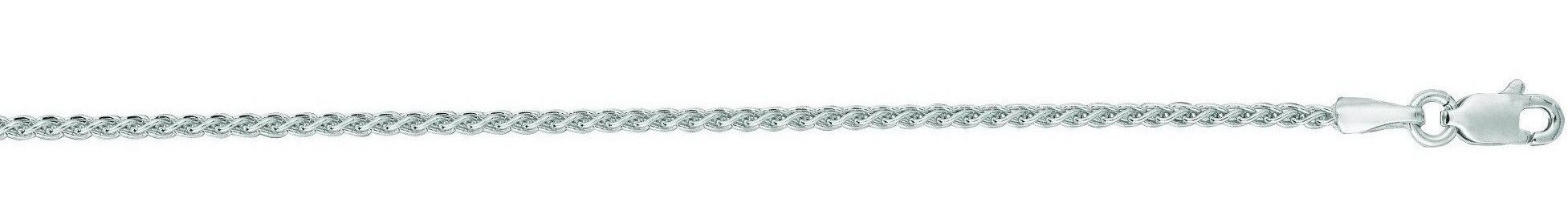 "30"" 14K White Gold 1.5mm (0.06"") Polished Diamond Cut Round Wheat Chain w/ Lobster Clasp"