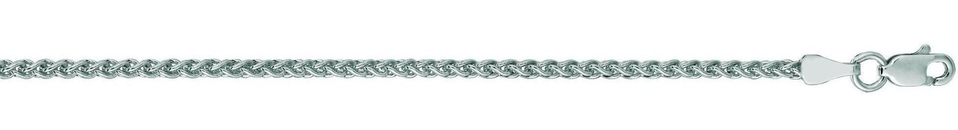"18"" 14K White Gold 2.1mm (0.08"") Polished Diamond Cut Round Wheat Chain w/ Lobster Clasp"