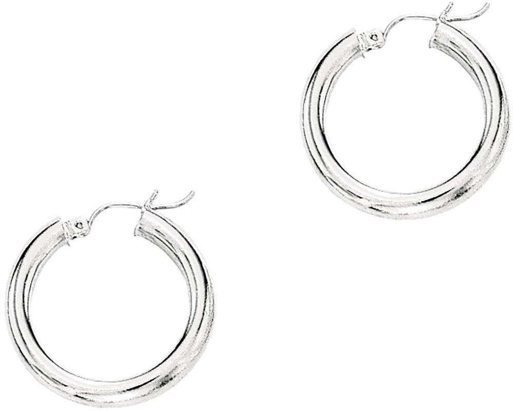"14K White Gold 4.0x25mm (0.16""x0.98"") Round Tube Polished Hoop Earrings"