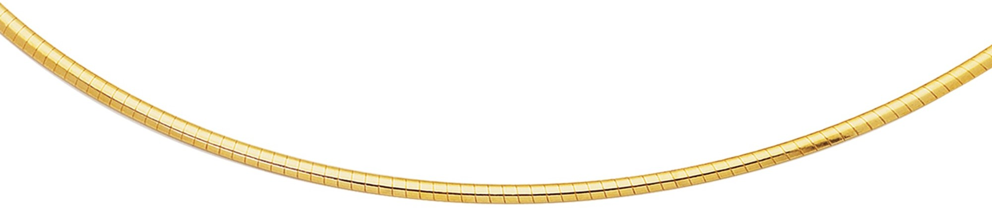 "16"" 14K Yellow Gold 2.0mm (0.08"") Polish Diamond Cut Classic Omega Necklace w/ Lobster Clasp"