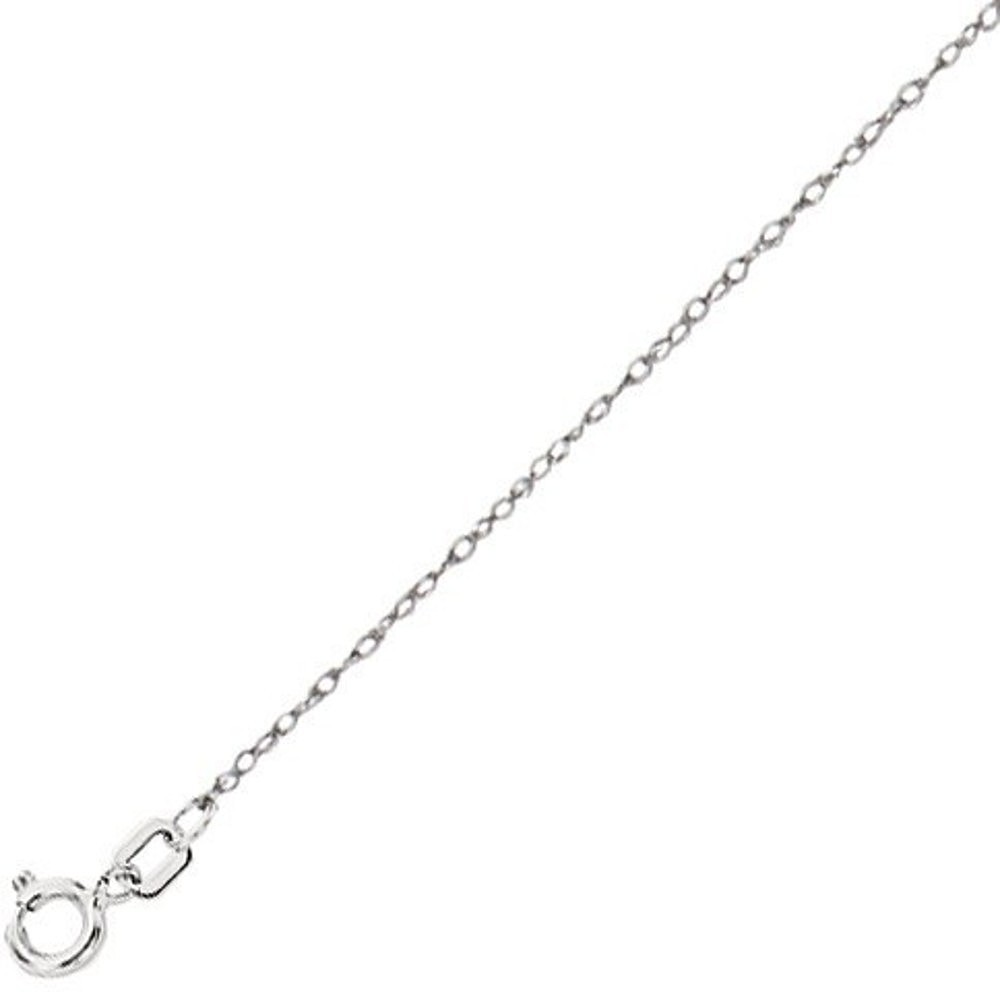 "16"" 10K White Gold Polished Diamond Cut Carded Rope Chain w/ Spring Ring Clasp"
