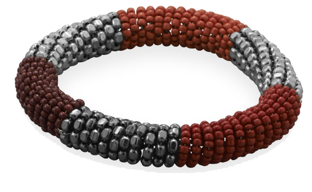 Red and Silver Tone Bead Spring Coil Fashion Stretch Bracelet W2505-bt
