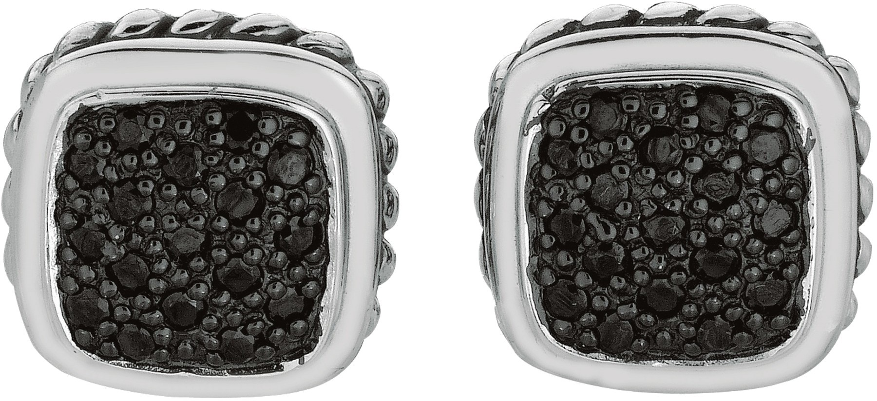 "Silver Rhodium Plated Shiny 13mm (1/2"") Fancy Square Post Earrings w/ Black Cubic Zirconia (CZ)"