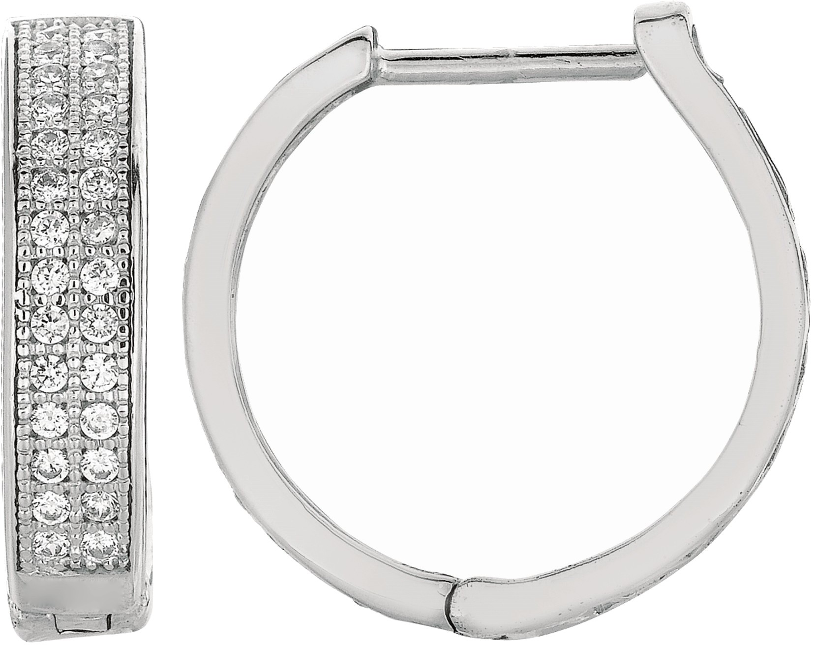 "Silver Rhodium Plated Shiny 4.0x17mm (0.16""x0.67"") Clear Cubic Zirconia (CZ) Huggie Hoop Earrings"