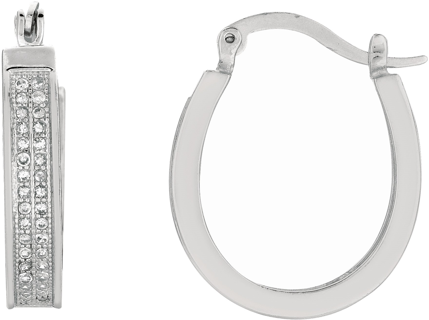 "Silver Rhodium Plated Shiny 4.0x16mm (0.16""x0.63"") Clear Cubic Zirconia (CZ) Oval Hoop Earrings"