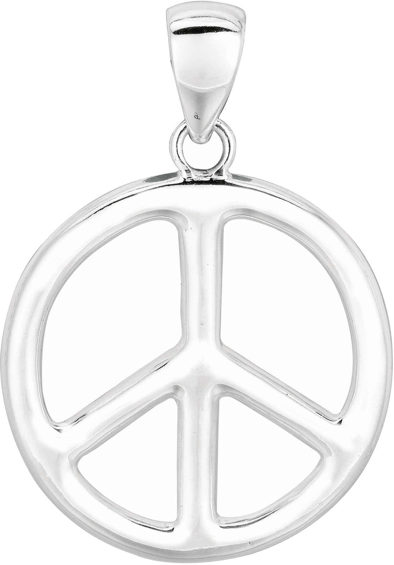 "Silver Rhodium Plated 22mm (7/8"") Shiny Peace Sign Pendant"