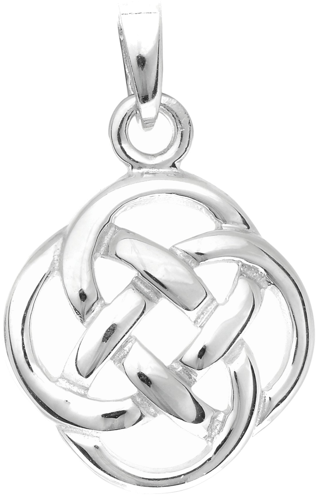 Silver Rhodium Plated Shiny Round Celtic Pendant - DISCONTINUED