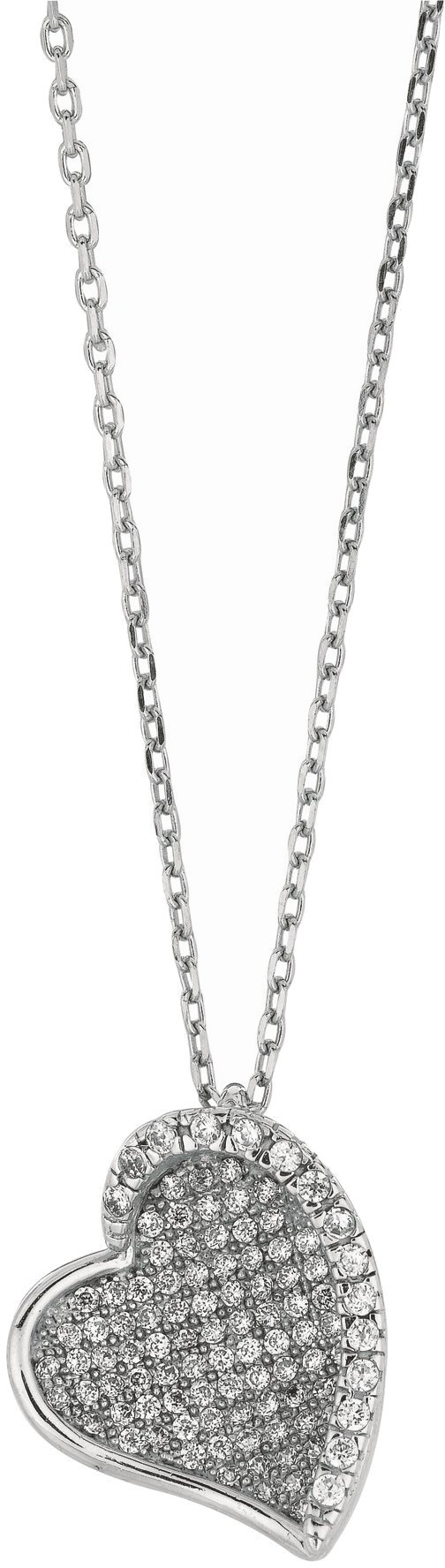 "18"" Rhodium Plated 925 Sterling Silver 1.1mm (0.04"") Cable Chain w/ Lobster Clasp & Heart Shape Pendant w/ Clear Cubic Zirconia (CZ)"