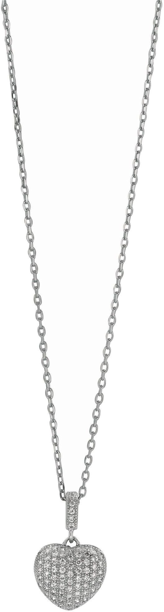 "18"" Rhodium Plated 925 Sterling Silver 1.1mm (0.04"") Cable Chain w/ Lobster Clasp & 12mm Heart Clear Cubic Zirconia (CZ) Pendant"