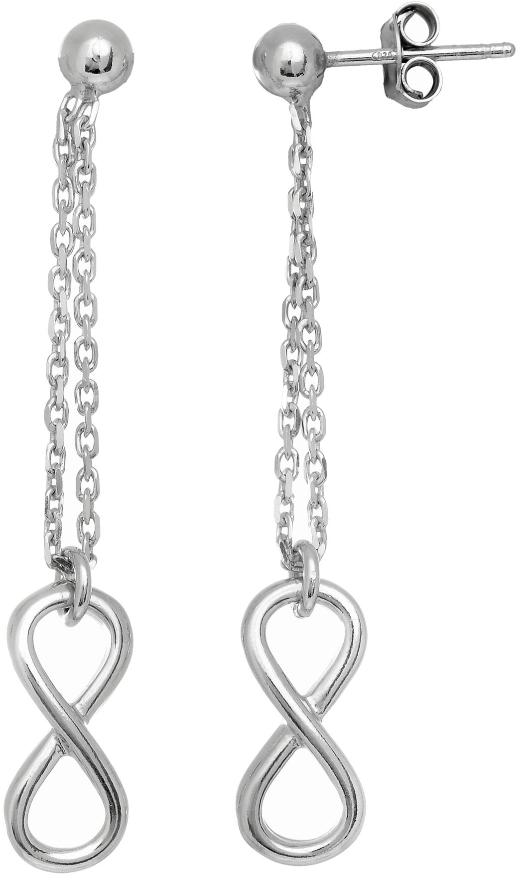 Rhodium Plated Shiny Diamond Cut Infinity Symbol Drop Earrings 925 Sterling Silver
