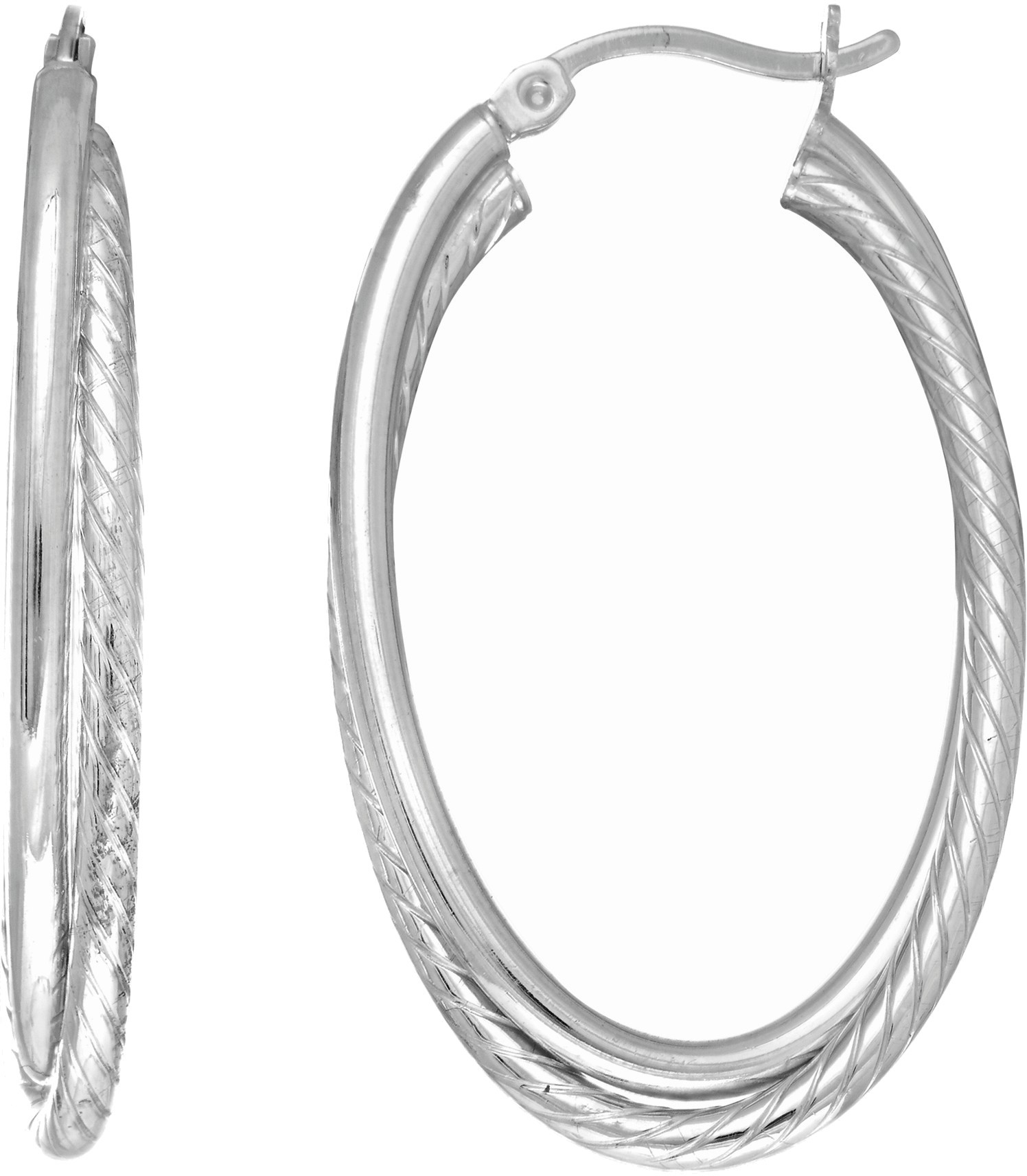 Silver Rhodium Plated Tube Hoop Earrings (BTAGE1772)