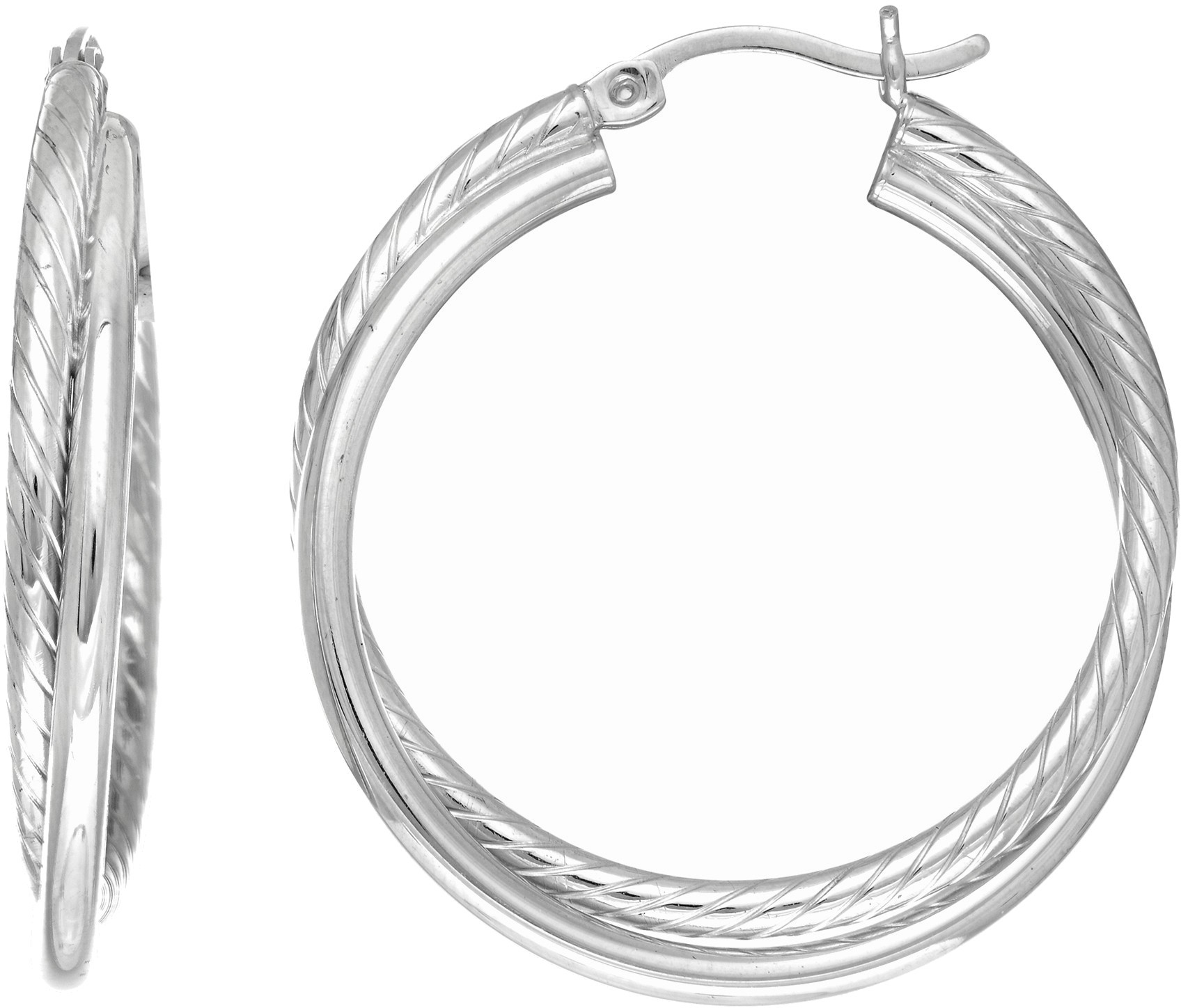 Silver Rhodium Plated Tube Hoop Earrings (BTAGE1773)