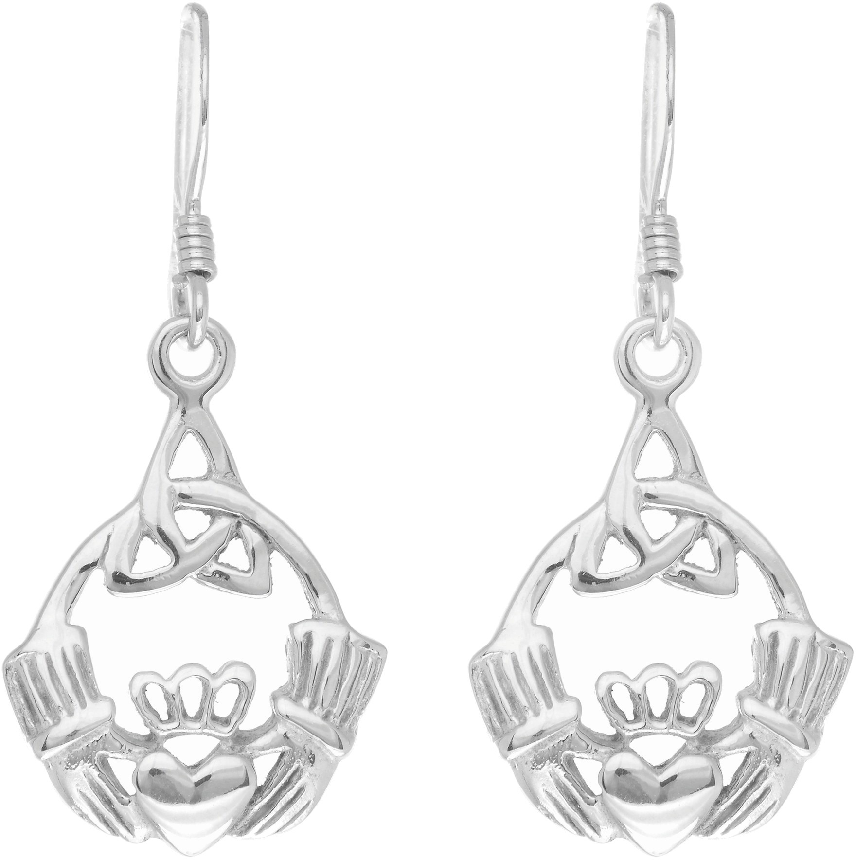 Silver Rhodium Plated Shiny Claddagh Drop Earrings
