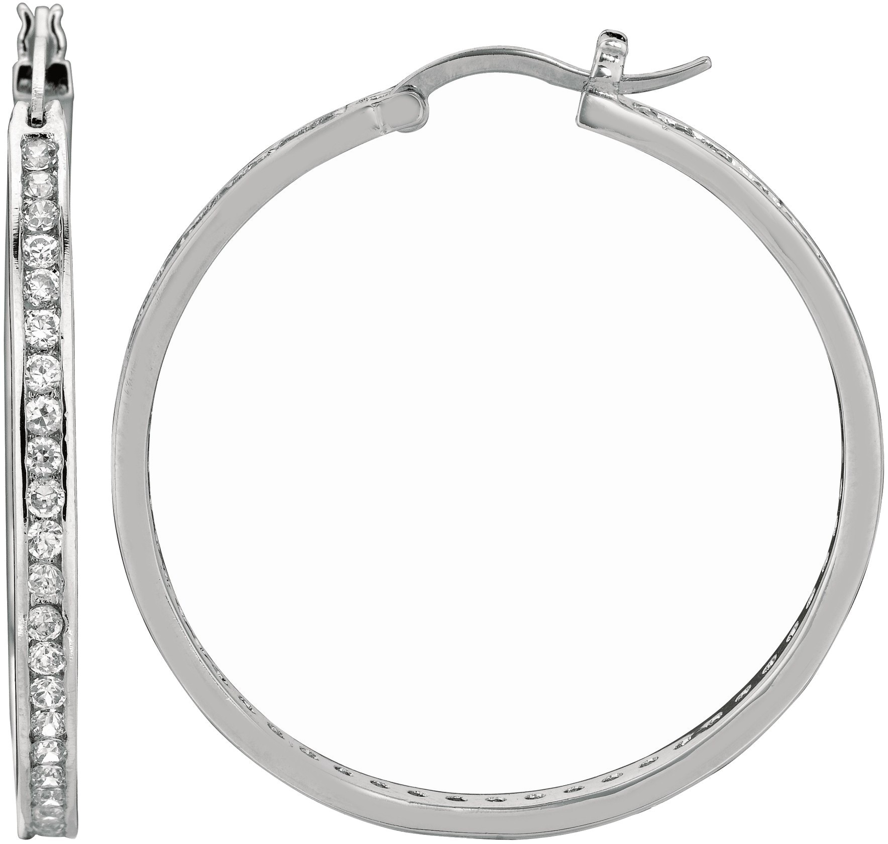"Silver Rhodium Plated Shiny 3.0x36mm (0.12""x1.42"") Clear Cubic Zirconia (CZ) Hoop Earrings"