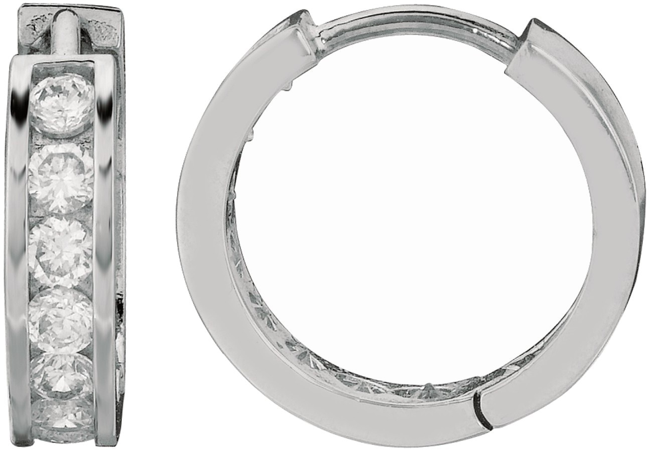 "Silver Rhodium Plated Shiny 4.0x11mm (0.16""x0.43"") Clear Cubic Zirconia (CZ) Huggie Hoop Earrings"