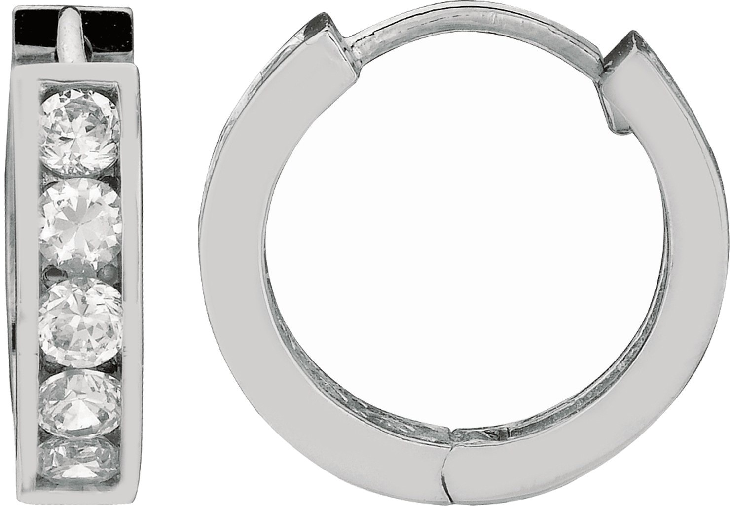 "Silver Rhodium Plated Shiny 4.0x13mm (0.16""x0.51"") Clear Cubic Zirconia (CZ) Huggie Hoop Earrings (BTAGE418)"