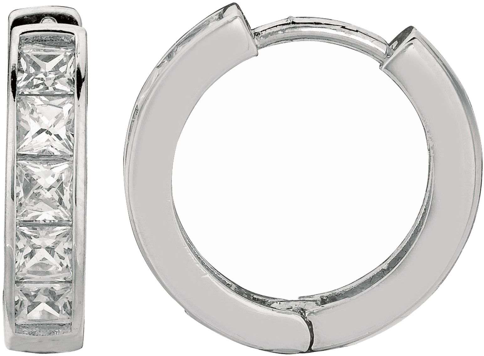 "Silver Rhodium Plated Shiny 4.0x13mm (0.16""x0.51"") Clear Cubic Zirconia (CZ) Huggie Hoop Earrings (BTAGE422)"