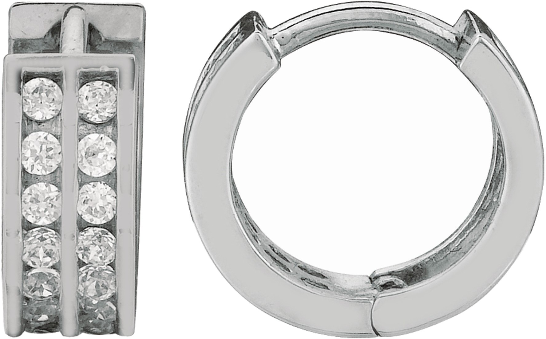 "Silver Rhodium Plated Shiny 4.0x9.0mm (0.16""x0.35"") Clear Cubic Zirconia (CZ) Huggie Hoop Earrings"