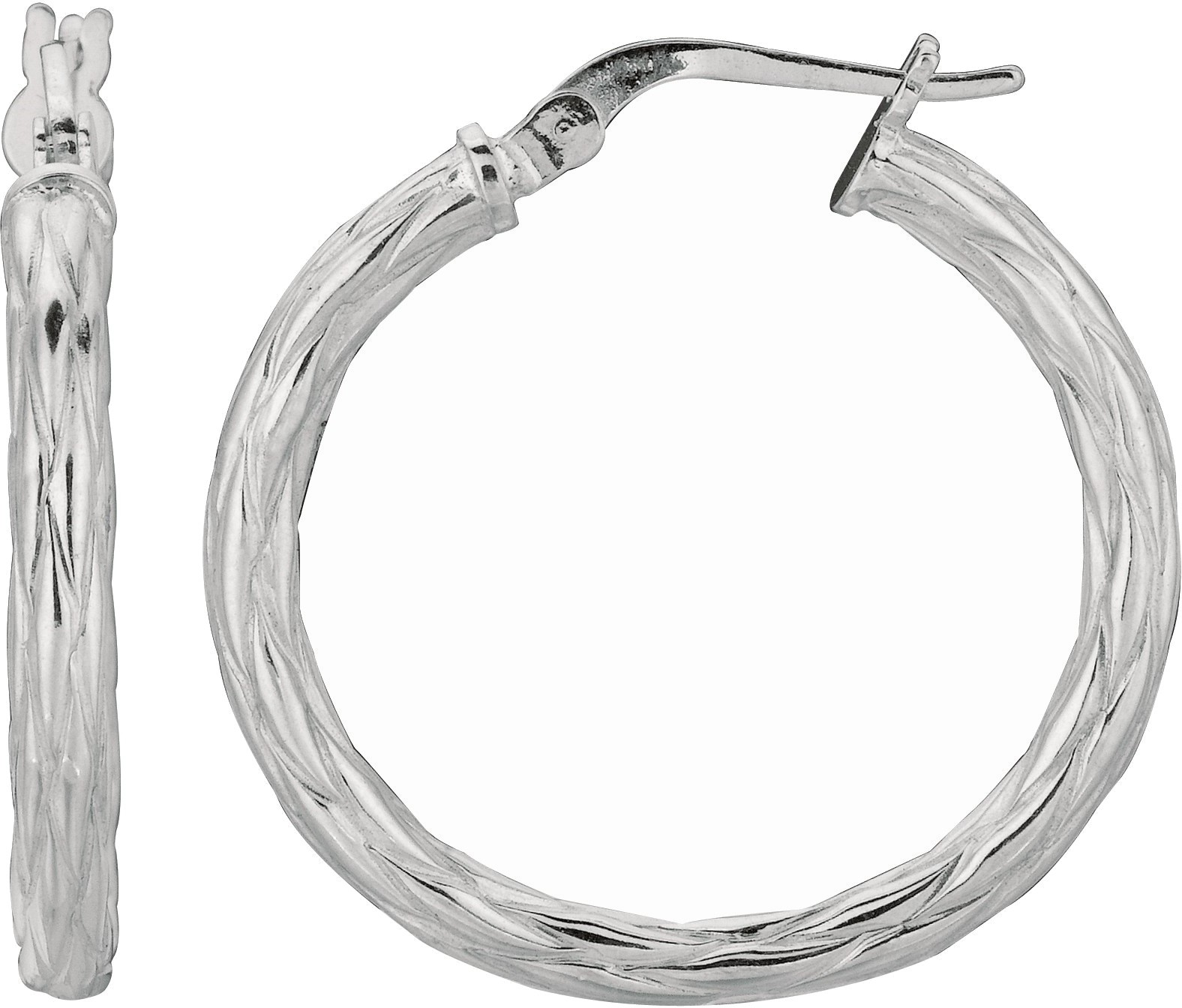 "Silver Rhodium Plated Shiny 3.0x22mm (0.12""x0.87"") Twisted Hoop Earrings"