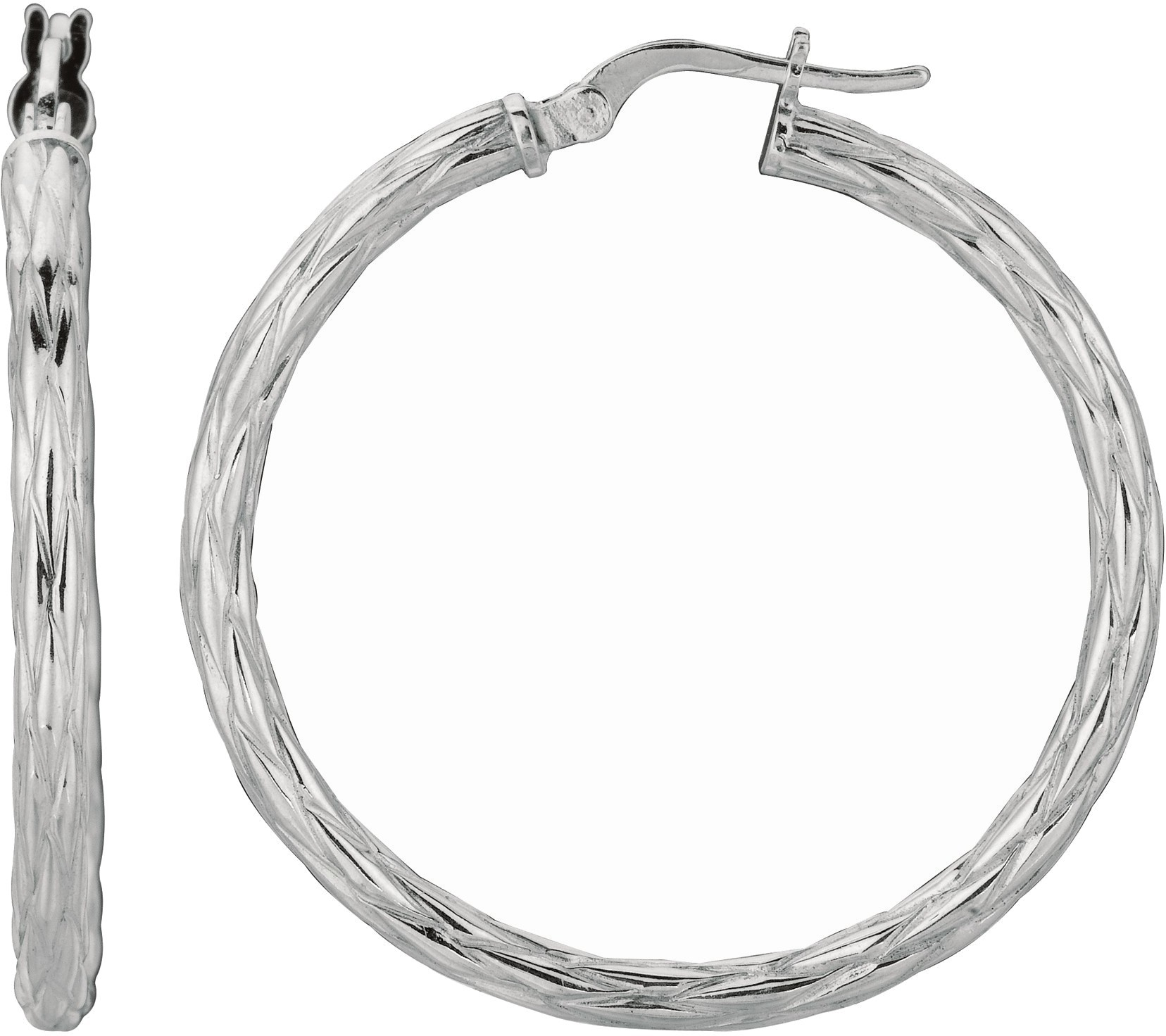 "Silver Rhodium Plated Shiny 3.0x31mm (0.12""x1.22"") Twisted Hoop Earrings - DISCONTINUED"