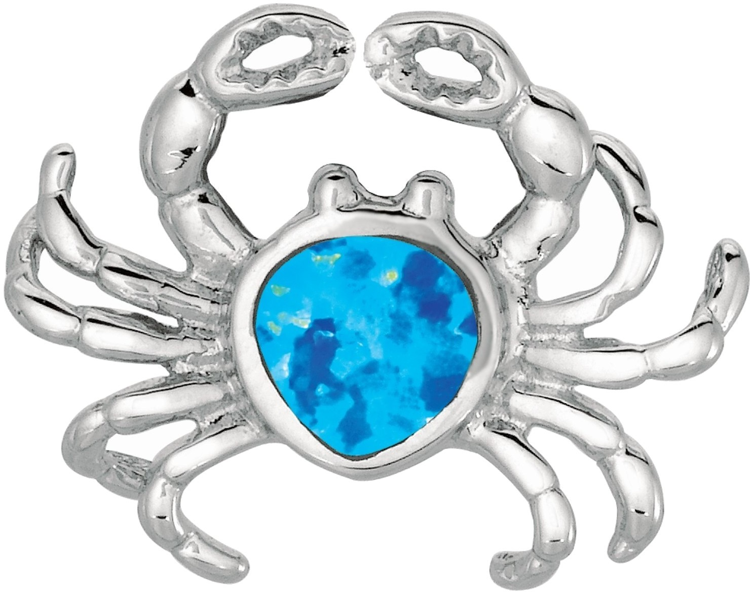 Silver Rhodium Plated Shiny Created Opal Crab Pendant (BTAGEP206)