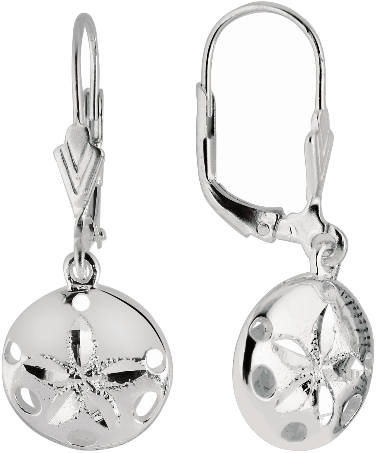 Silver Rhodium Plated Shiny Textured Small Sand Dollar Sea Life Leverback Earrings