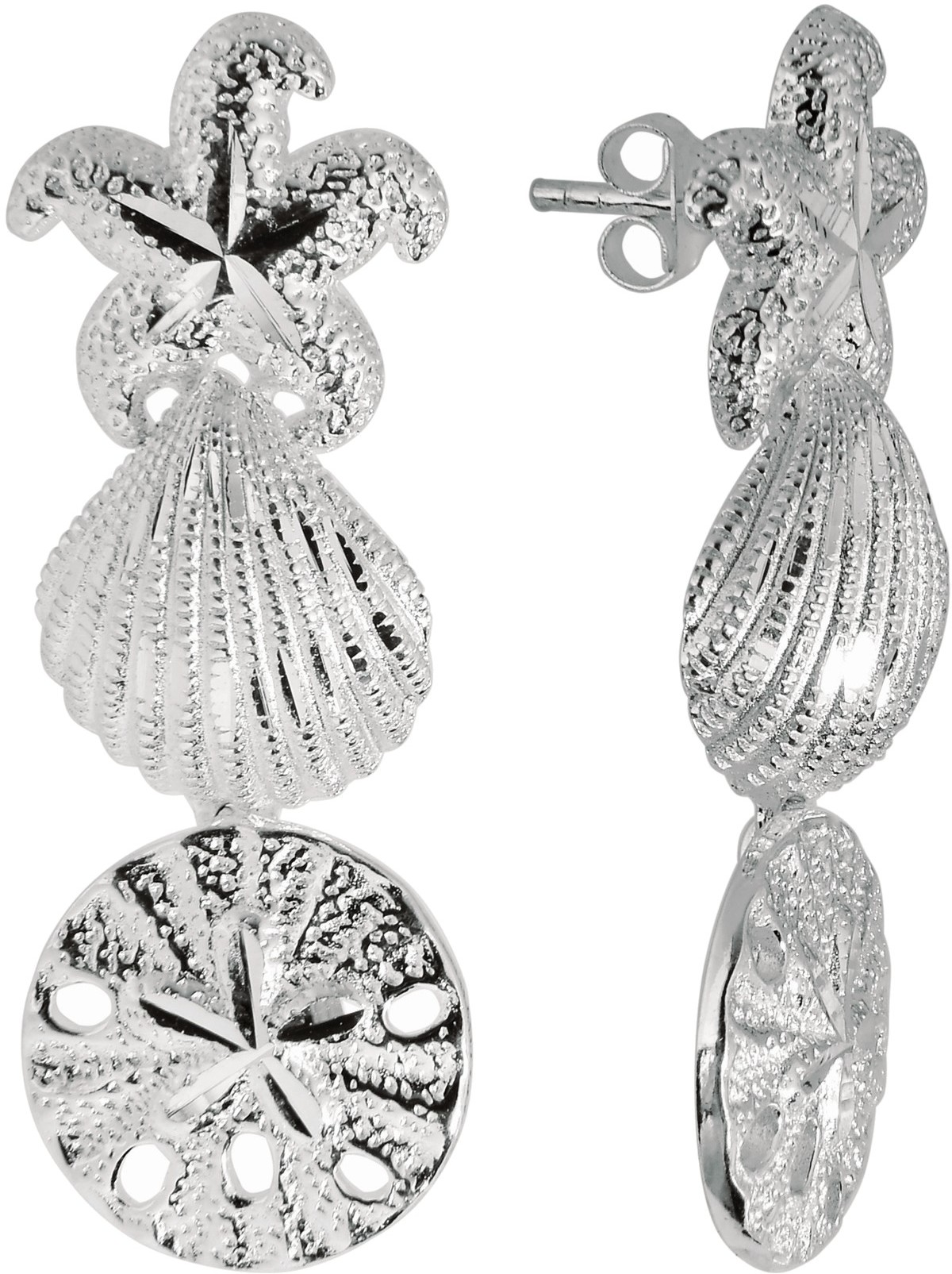 Silver Rhodium Plated Shiny Textured Starfish & Sand Dollar & Sea Shell Sea Life Drop Earrings