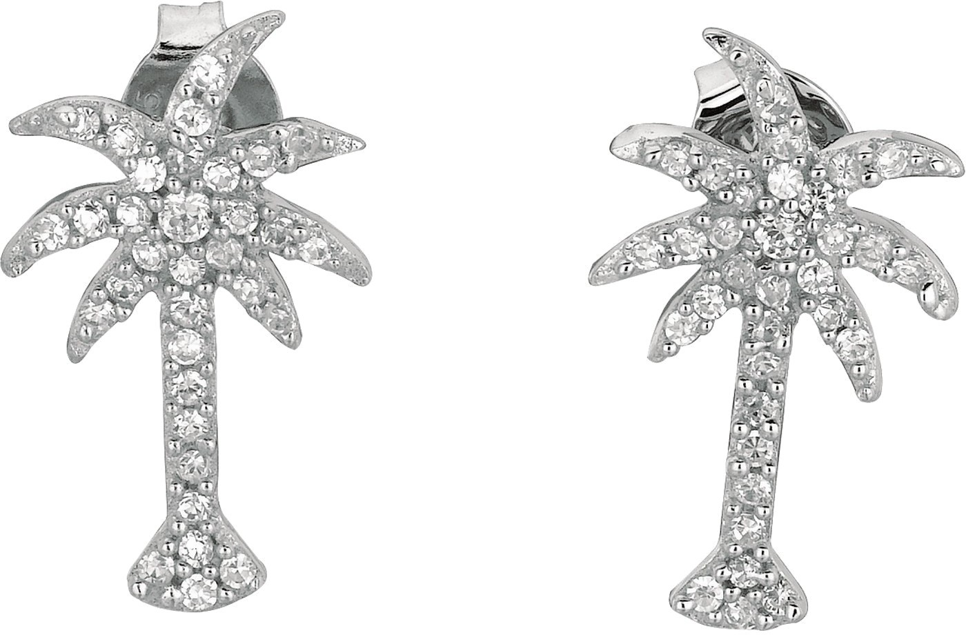 Silver Rhodium Plated Shiny Palm Tree Sea Life Post Earrings w/ White Cubic Zirconia (CZ) (BTAGER532)