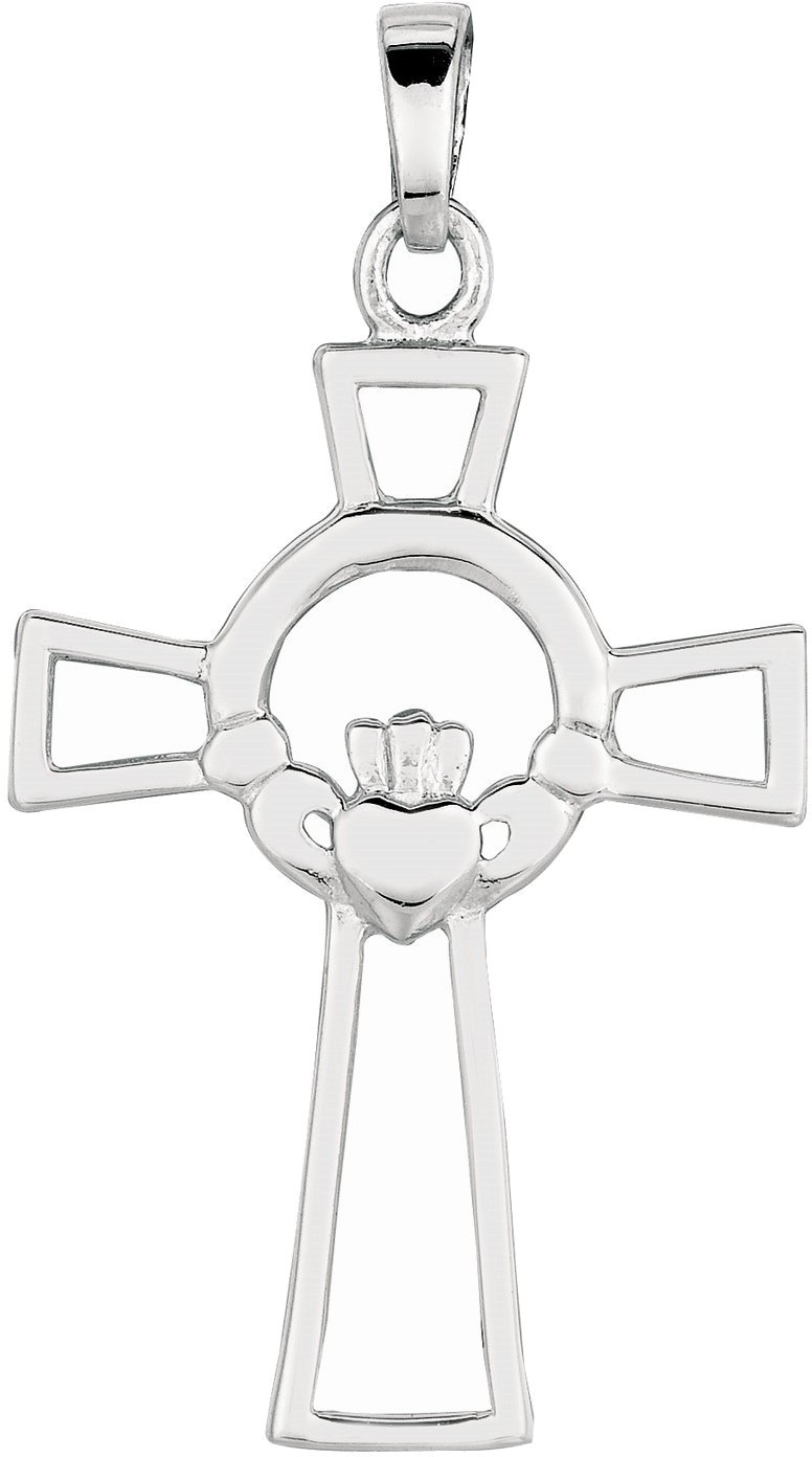 "Silver Rhodium Plated 18x25mm (0.71""x0.98"") Shiny Fancy Claddagh Cross Pendant"
