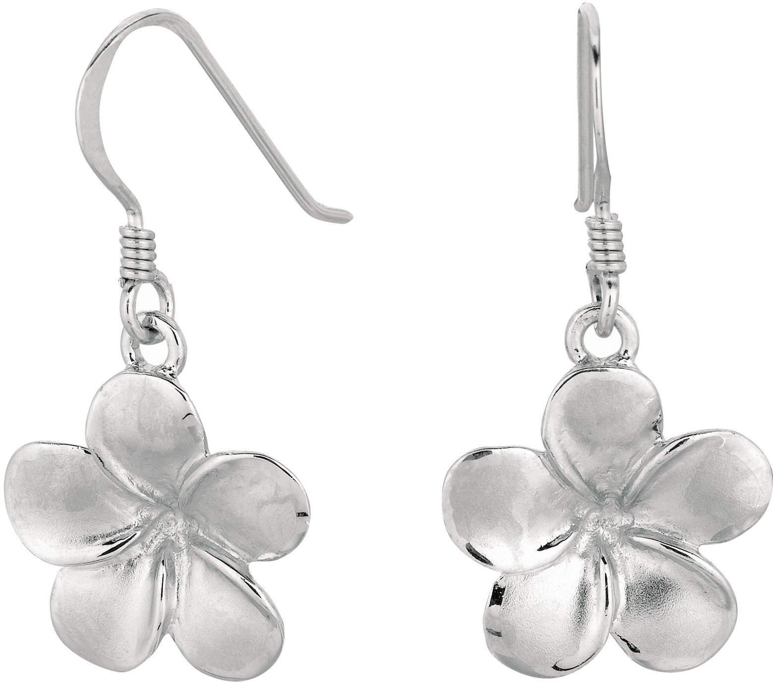"Silver Rhodium Plated 15mm (5/8"") Shiny Textured Dangle Sand Blast Champac Flower Drop Earrings"