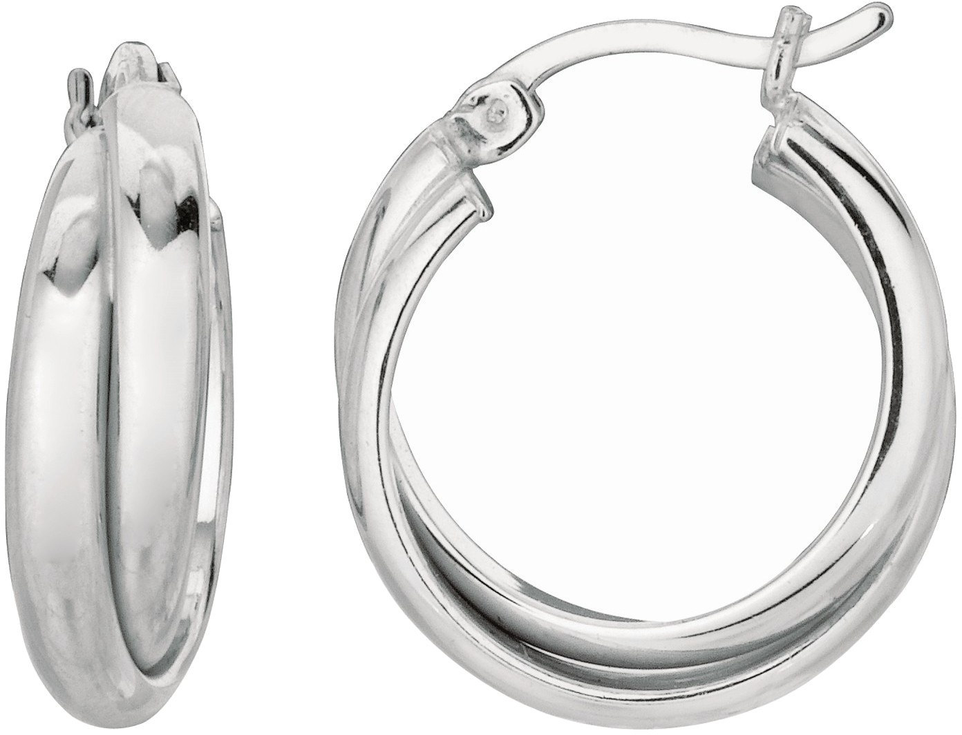 Silver Rhodium Plated Shiny 2 Row Hoop Earrings (BTAGWE473)