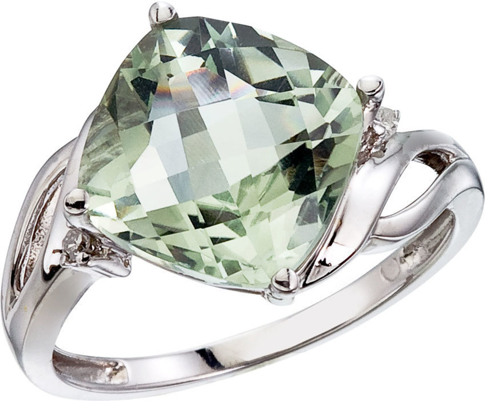 14K White Gold Green Amethyst and Diamond Cushion Ring (CM-RM2814W-GA)