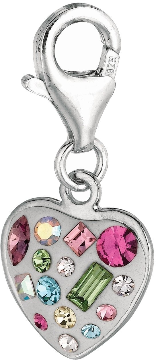 Rhodium Plated w/ Multi-shaped & Colored Crystal Heart Charm 925 Sterling Silver