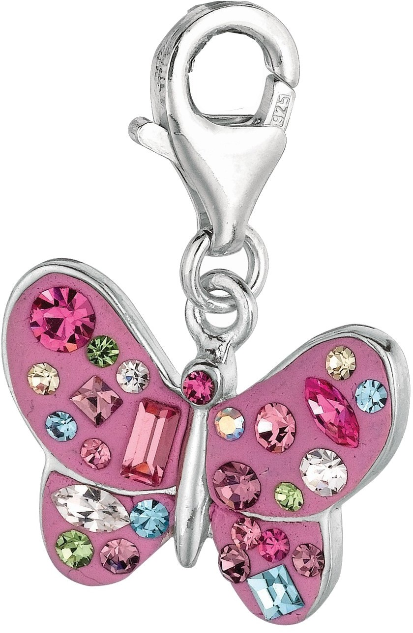 Rhodium Plated Pink Butterfly w/ Dotted Multi Color Stones Animal Charm 925 Sterling Silver
