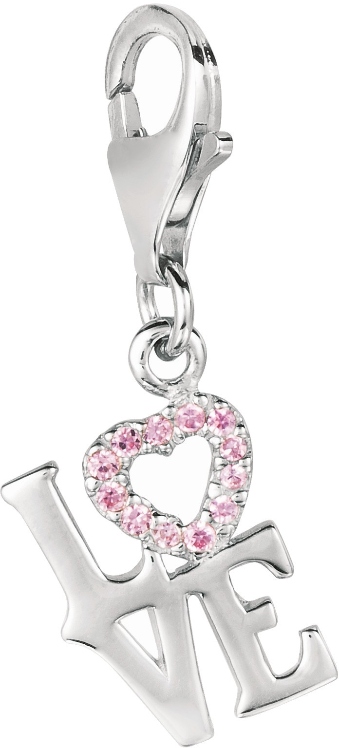"Rhodium Plated w/ Block Letters ""l-o-v-e"" w/ Pink Crystal Heart Charm 925 Sterling Silver"