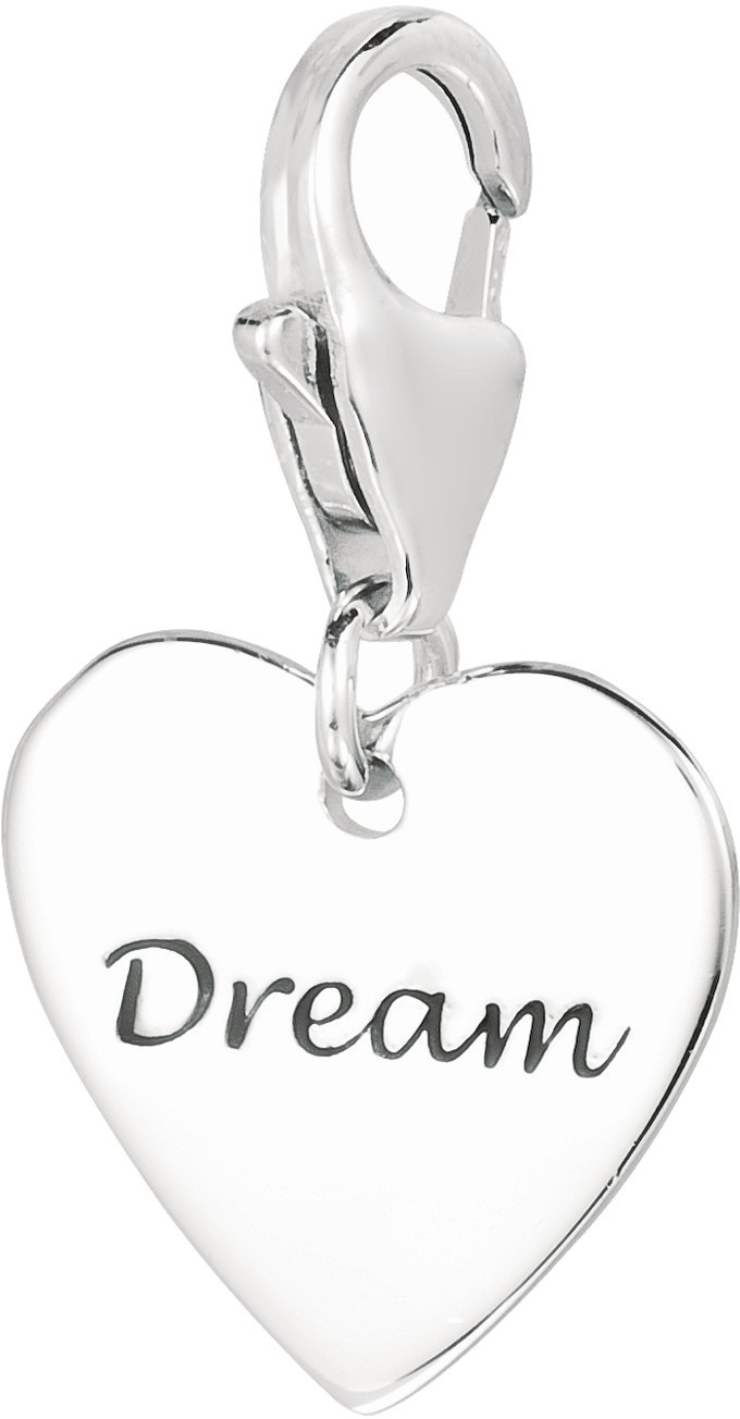 "Rhodium Plated Heart w/ ""Dream"" Engraved Inspirational Charm 925 Sterling Silver"