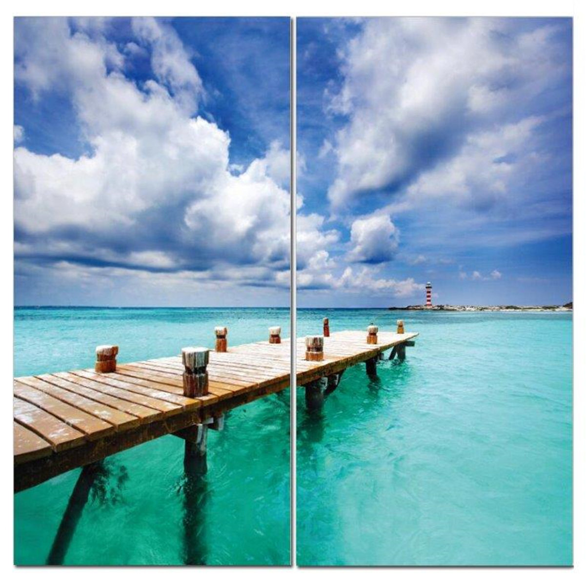 "Dock With a View Green Ocean Nautical 12"" x 24"" 2 Piece Canvas Print Set"