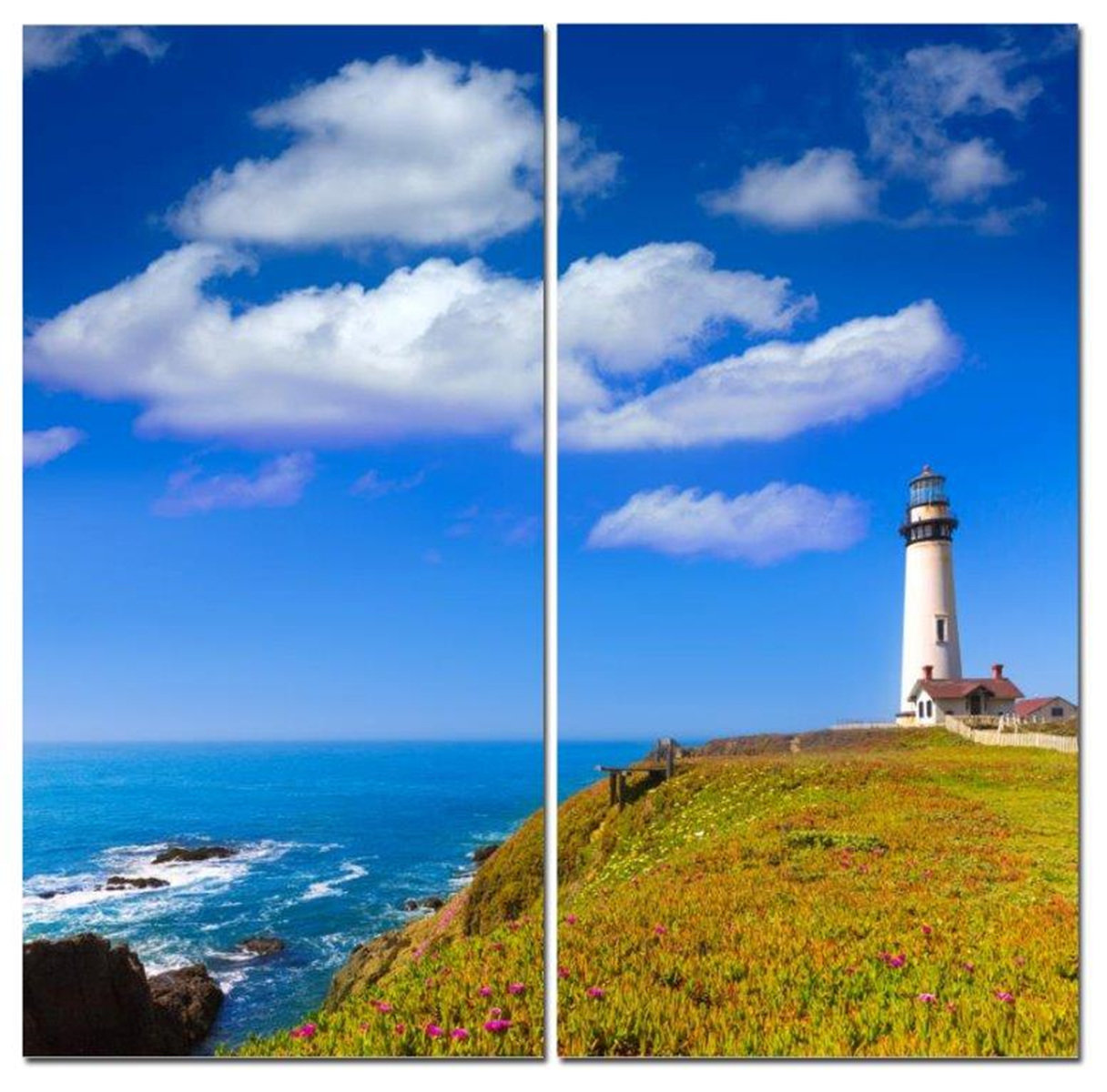 "Lighthouse on Bluffs Overlooking Ocean 12"" x 24"" 2 Piece Canvas Print Set"