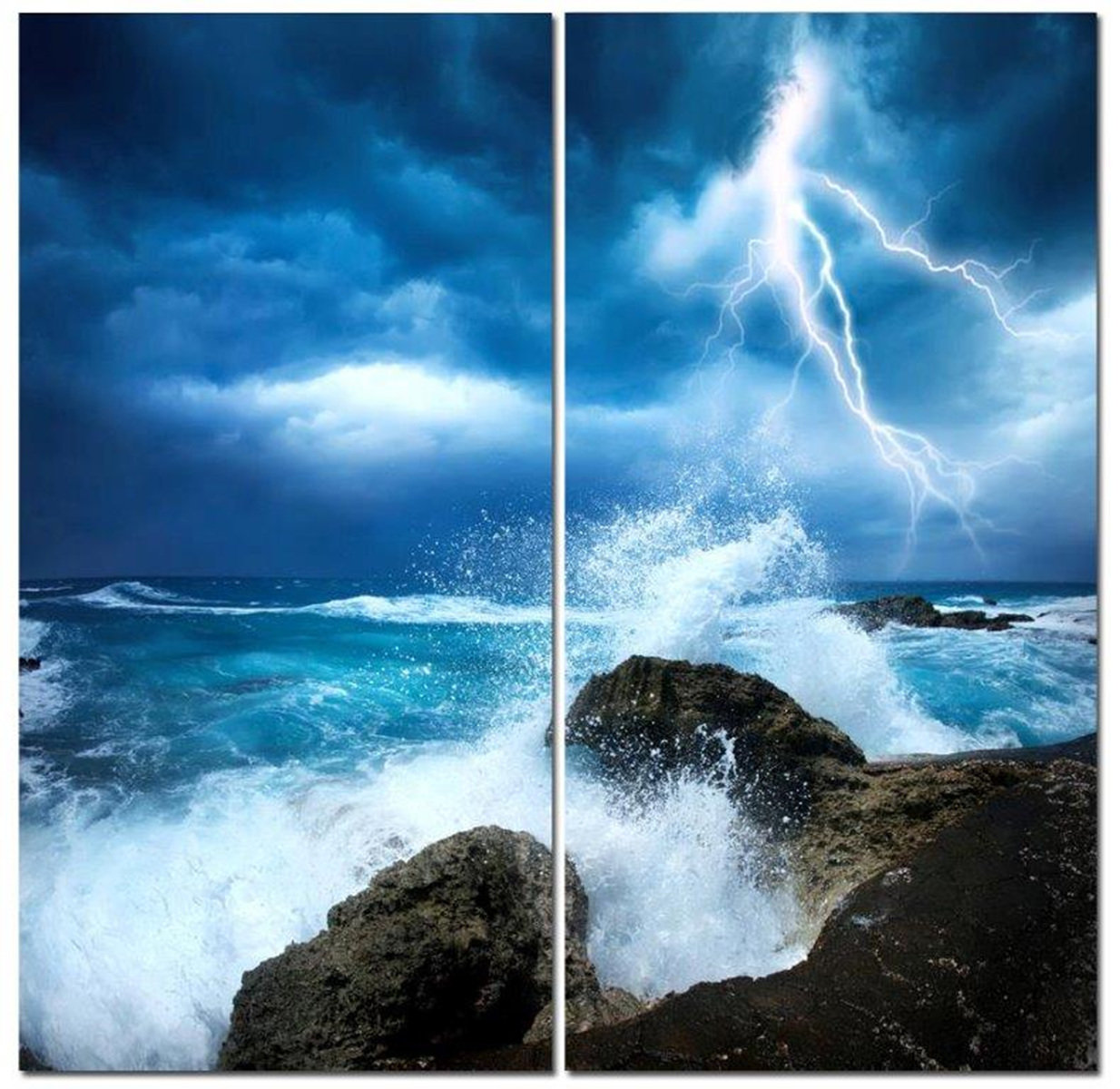 "Midnight Lightning Storm w/ Crashing Waves 12"" x 24"" 2 Piece Canvas Print Set"