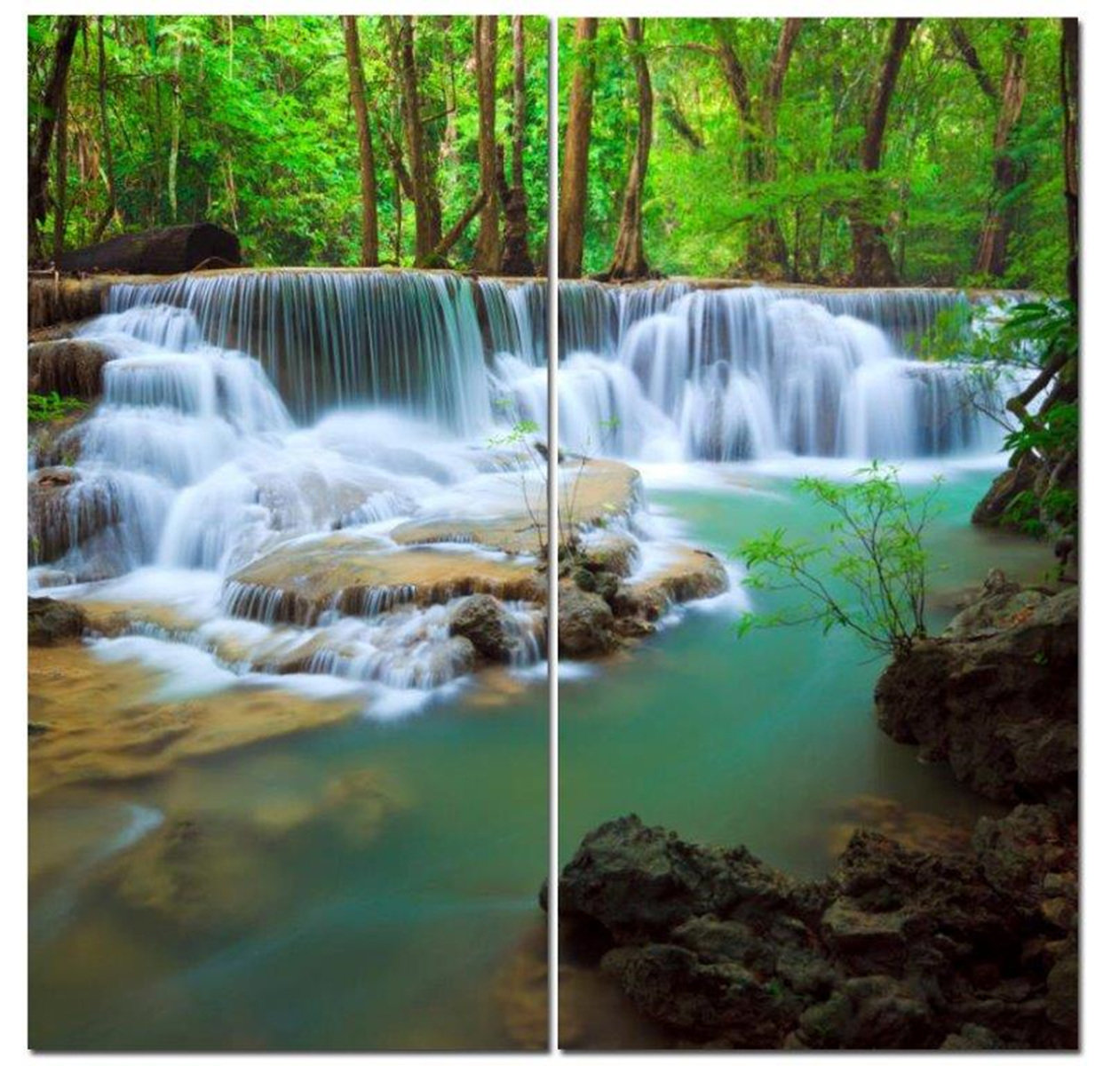 "Cascading Forest Waterfall 12"" x 24"" 2 Piece Canvas Print Set"