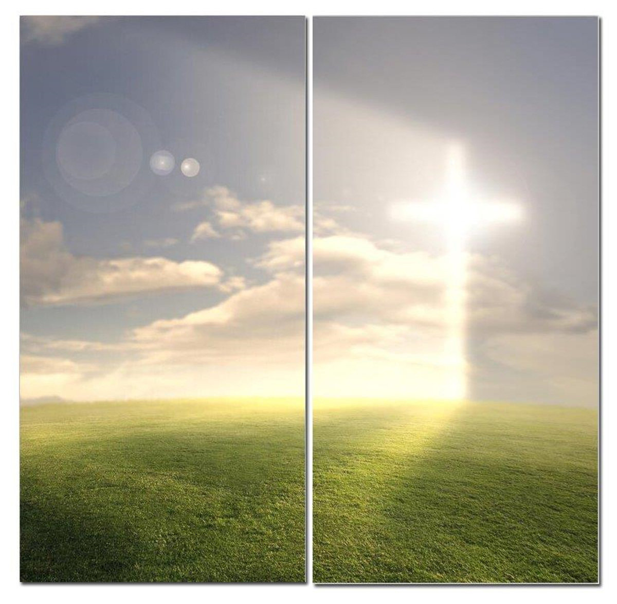 "Cross Of Heavenly Light In Meadow 12"" x 24"" 2 Piece Canvas Print Set - DISCONTINUED"
