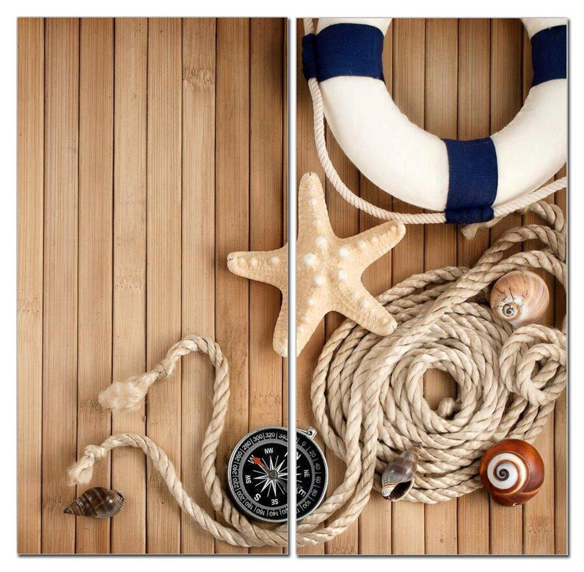 "Nautical Dreamin Starfish & Compass 12"" x 24"" 2 Piece Canvas Print Set"
